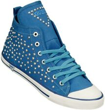 GUESS UK 5 Joan Rhinestone Embellished Blue Canvas Hi Top Trainers Sneakers EU38
