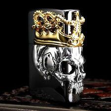 Zippo Skull King Beauty Beast Crown Japan Limited Black Titanium Oil Lighter F/S