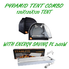 PYRAMID GROCELL 120X120X120 GROW TENT WITH PL 2X55W ENERGY SAVING GROWING LIGHT