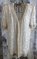 VTG Laurence Kazar Beaded Sequin Top Blouse Jacket Cardigan 100% Silk Lined M