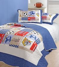 KIDS FUN SPORTS MANIA SINGLE BED QUILTED REVERSIBLE BEDSPREAD & PILLOWSHAM SET
