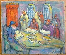 Nathan Gutman Huile sur toile signée scène religieuse la prière  Judaica Art