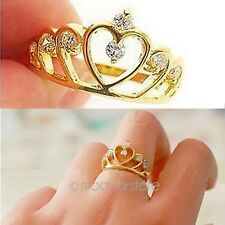 New Fashion Women Gold Filled Crystal Rhinestone Crown Ring Finger Gift Jewelry