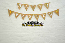 Happy Easter Burlap Bunting Hessian Banner Garland Party Felt Embellishment