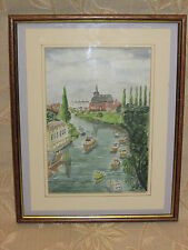Vintage Watercolor Painting 'The Boat House' Signed By A. R. Smith - 1989
