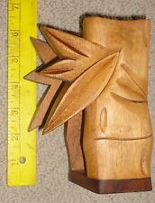 vintage hawaiian koa wood napkin holder carved bamboo. hawaii