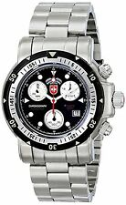 NEW CX Swiss Military 1726 Mens Seewolf 1 Chronograph Black Dial SS Diving Watch