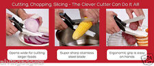 Stainless Steel Clever Cutter 2 in1 Knife Cutting Board Scissors Kitchen Tool