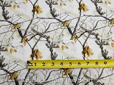 Realtree AP HD Camo Camouflage Nature Trees Leafs White  BY YARDS Cotton Fabric
