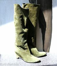 Gently Worn ROBERTO DEL CARLO Green Suede Knee High Sock Wedge Boots Shoes 38.5