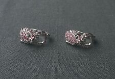 Enchanting 925 sterling silver genuine Ruby Panther huggie style earrings