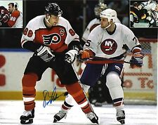 ERIC LINDROS SIGNED PHILADELPHIA FLYERS 8X10 WITH BRETT LINDROS ISLANDERS L@@K