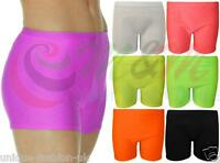 LADIES NEON PLAIN STRETCHY HOT PANTS SEXY SHORTS CLUBWEAR DANCE PARTY UK 8-16