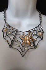 New Women Pewter Wide Necklace Metal Gold Small Spiders Earrings Set Rhinestones