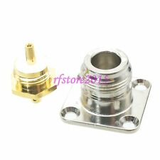 """1pce Connector N female jack 4-hole Flange  solder RG405 0.086"""" cable RF COAXIAL"""