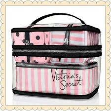 Victoria's Secret Pink/White Stripe / Polka Dot 4 Pieces Makeup Bags Travel Case