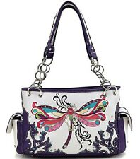 Dragonfly/Butterfly Purple Concealed Carry Handbag