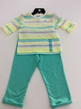 Carter's Girls 18 months striped playware set.  White, yellow, green and gray