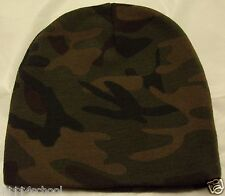 """DELUXE 8"""" WOODLAND CAMO CAMOUFLAGE WINTER SKI KNIT BEANIE SKULLY WATCH CAP HAT"""