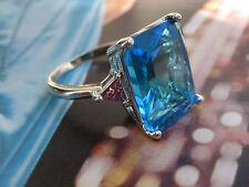 Vintage ART DECO imposant silberner Ring 925  riesiger Blautopas ? blue topaz ?