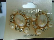 Earring Clip On Gold Faux Pearls in Diamond Shape with Comfort Closure