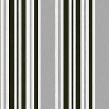 Marrakech - Debona - Stripe Fabric Textured Wallpaper - GREY/BLACK 2327