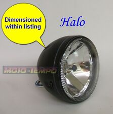 "HALO Headlight 5 3/4"" inch Black Metal Body Glass Lens Side Mount Motorcycle"
