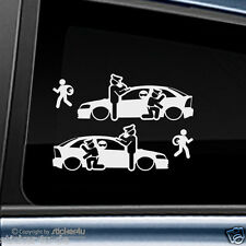 (1649) 2x FUn Sticker Aufkleber / Catch Real Criminals Opel Astra G 2 Türen opc
