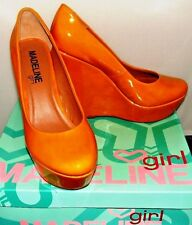 MADELINE GIRL STARLITE YELLOW WEDGE PUMP SIZE 7.5
