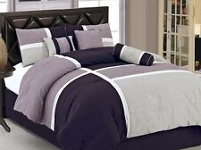 7pcs Medallion Quilted Patchwork Comforter Set King, Lavender Purple Gray