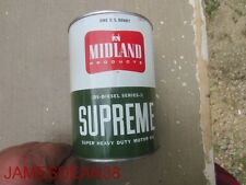 VINTAGE MIDLAND SUPREME MOTOR OIL CAN - 1 QUART Minneapolis, Minnesota COOP