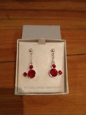 BNIB Disney Parks Excl Mickey Mouse Red Droplet Earrings Swarovski Xmas