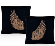 Pair of Black with Copper Rose Gold Angel Wing Cushions 45cm Square