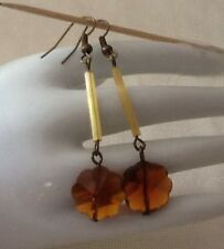 Vintage Czech Glass Beaded Floral Earrings Dark Topaz Brown Faceted Flower Bead