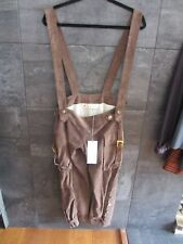 Marni brown super soft suede cropped pants with suspenders size 38 New Italy