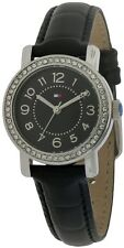Tommy Hilfiger Women Black Leather Crystals Bezel Dress Watch 28mm 1781474 $115