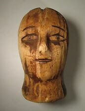 ANTIQUE VICTORIAN AMERICAN FOLK ART CARVED FIGURAL HAT FORM BLOCK TREEN HEAD EYE