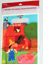BARNYARD EIEIO/ FARM   8-PLASTIC LOOT BAGS, BIRTHDAY-CHILD  PARTY SUPPLIES