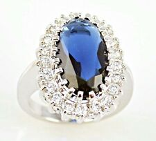Noble Sapphire & white Topaz Gemstones Silver Ring Size 9