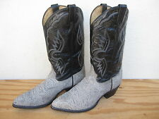Mens Tony Lama Western Cowboy Boots Size11D Gray/Black Leather