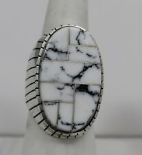 Navajo Indian Ring White Buffalo Turquoise Inlay Large Size 10 Sterling Silver R