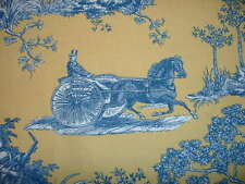 3.4 yds. Vintage Waverly Horseless Carriage Toile Curtain & Drapery Fabric