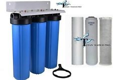 "BIG BLUE 20"" WATER FILTER SYSTEM 1"" WITH FILTERS-TRIPLE WHOLE HOUSE/COMMERCIAL"