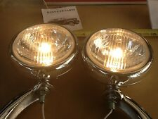 NEW PAIR OF CLAER 6 VOLT SMALL VINTAGE STYLE FOG LIGHTS WITH CHROME BRACKETS