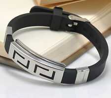 New Stainless Steel Men's Black Punk Rubber Wristband Clasp Cuff Bangle Bracelet