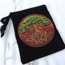 NEW TREE OF LIFE DESIGN BLACK RUNE STONE BAG, POUCH, TAROT, WICCA, PAGAN GIFT