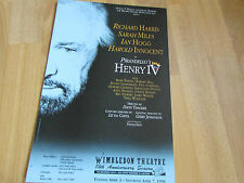 Richard HARRIS & Sarah MILES in HENRY IV 1990 WIMBLEDON Theatre Original Poster