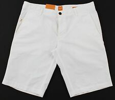 Men's HUGO BOSS ORANGE White Twill Cotton Shorts 34 NWT NEW Schino 50258928