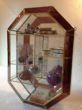 """Brass and Glass Curio Wall Display Cabinet Case Burgundy 20"""""""