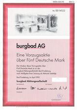 Bad Fredeburg Burgbad AG Vorzugsaktie 5 DM 1995 dekorativ